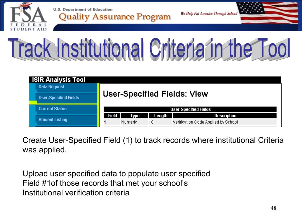 Track Institutional Criteria in the Tool