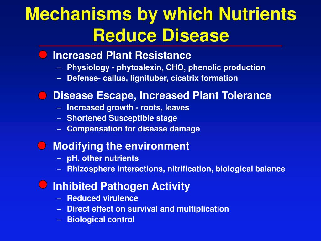 Mechanisms by which Nutrients Reduce Disease
