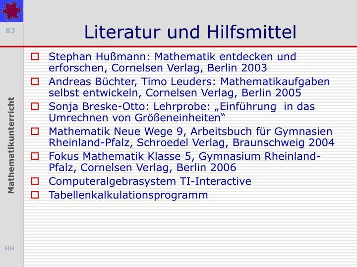 Literatur und Hilfsmittel