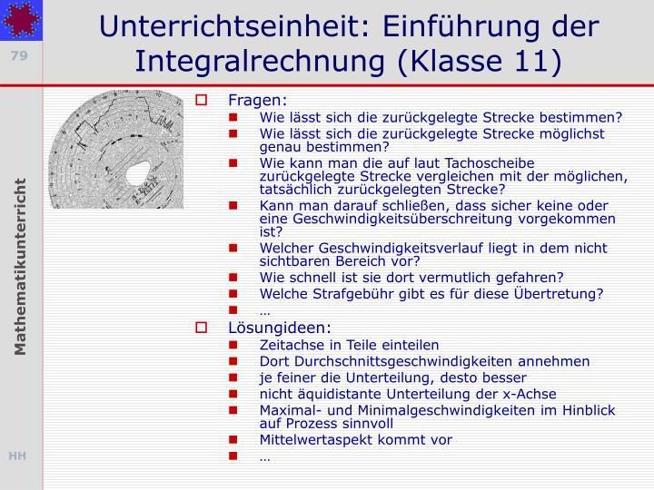 Unterrichtseinheit: Einführung der Integralrechnung (Klasse 11)