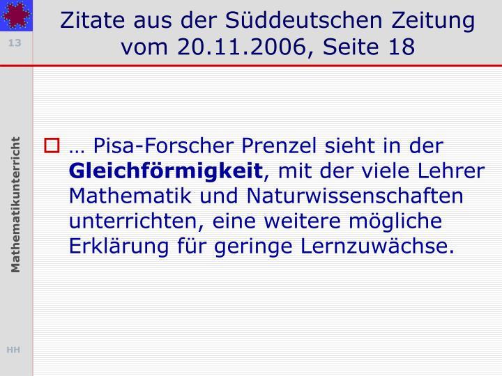 Zitate aus der Süddeutschen Zeitung vom 20.11.2006, Seite 18