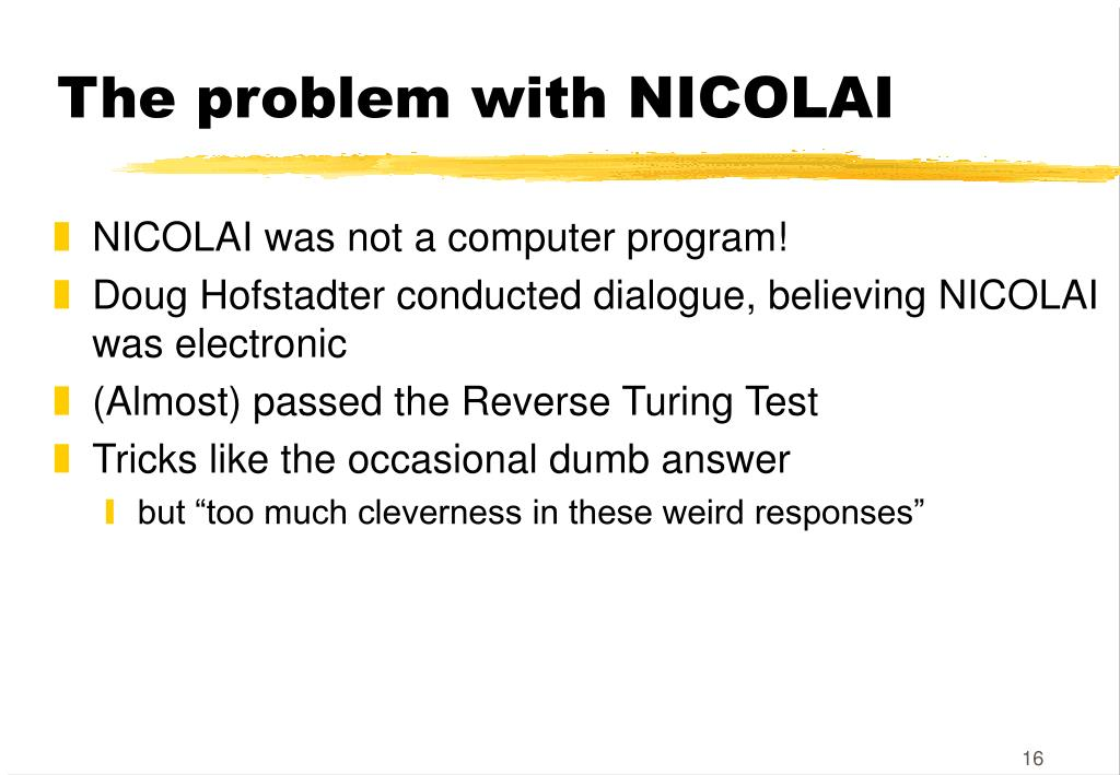 The problem with NICOLAI