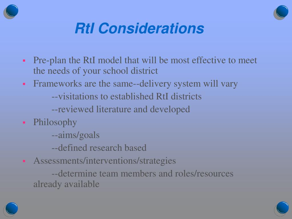 RtI Considerations