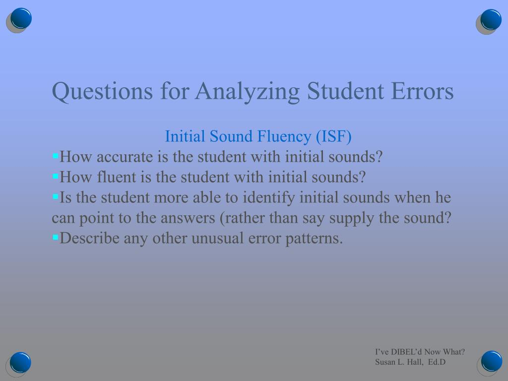 Questions for Analyzing Student Errors