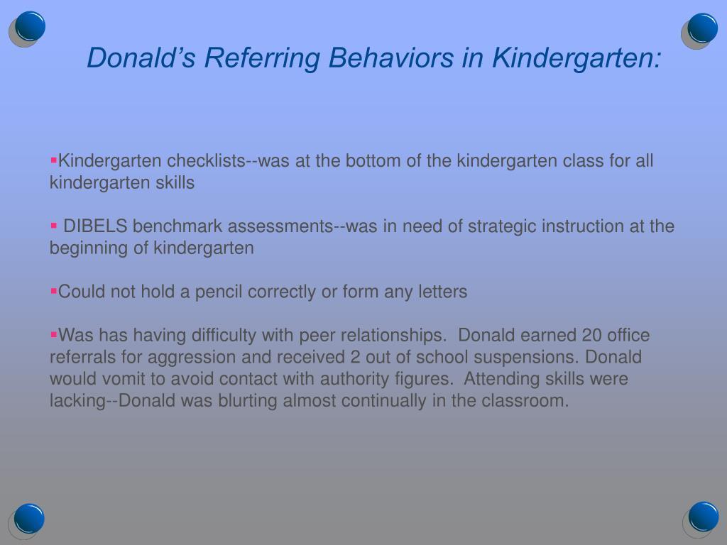 Donald's Referring Behaviors in Kindergarten: