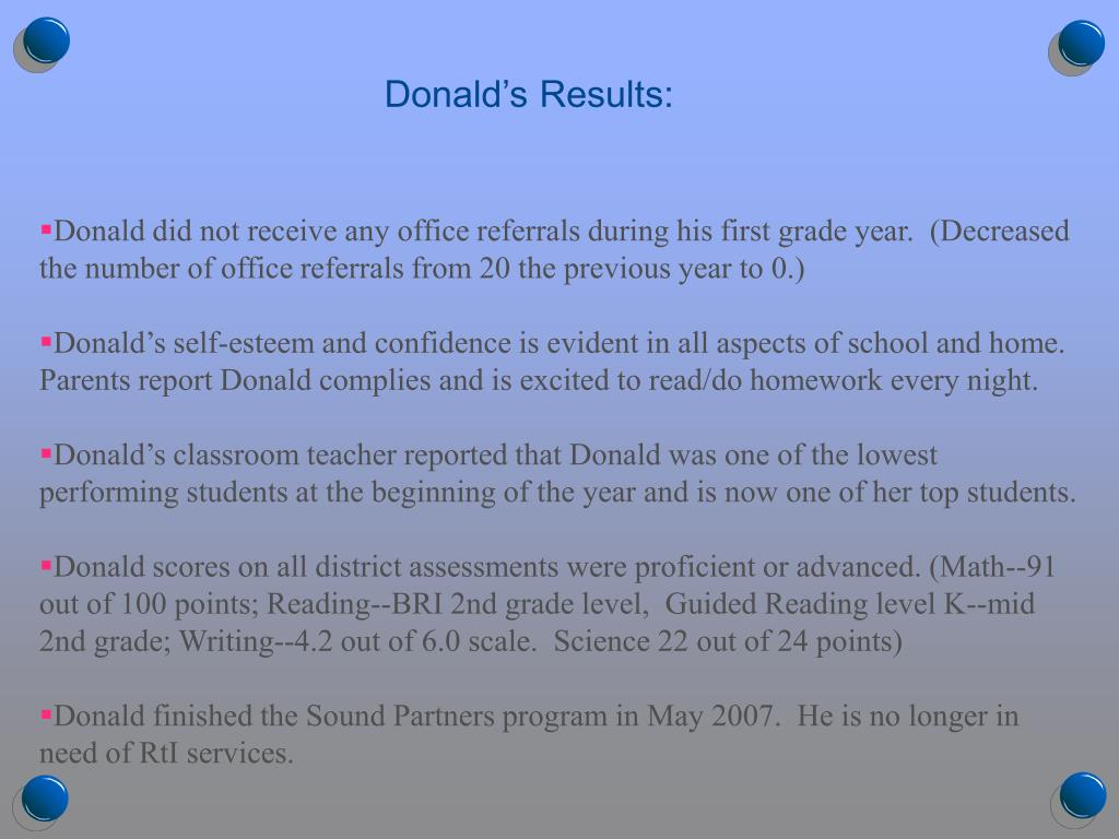 Donald's Results: