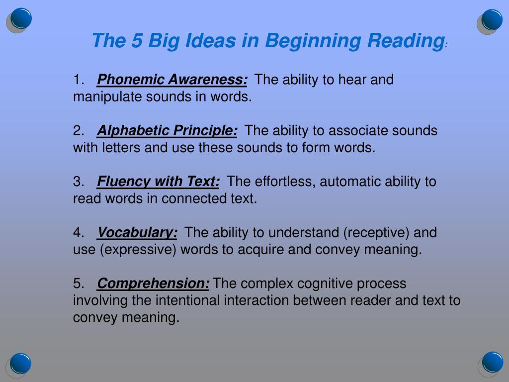 The 5 Big Ideas in Beginning Reading