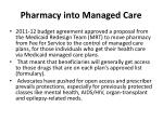 pharmacy into managed care