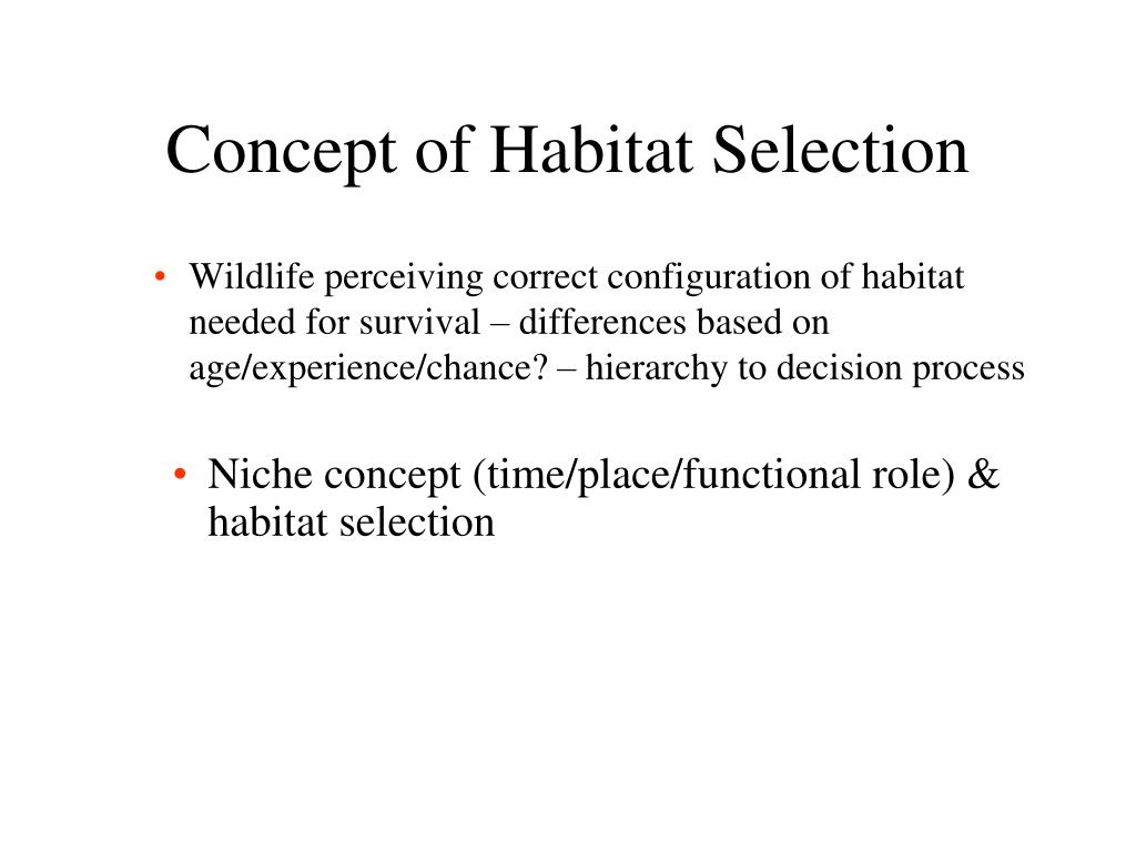 Concept of Habitat Selection