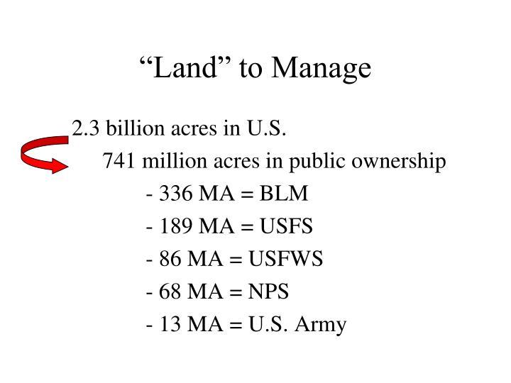 Land to manage