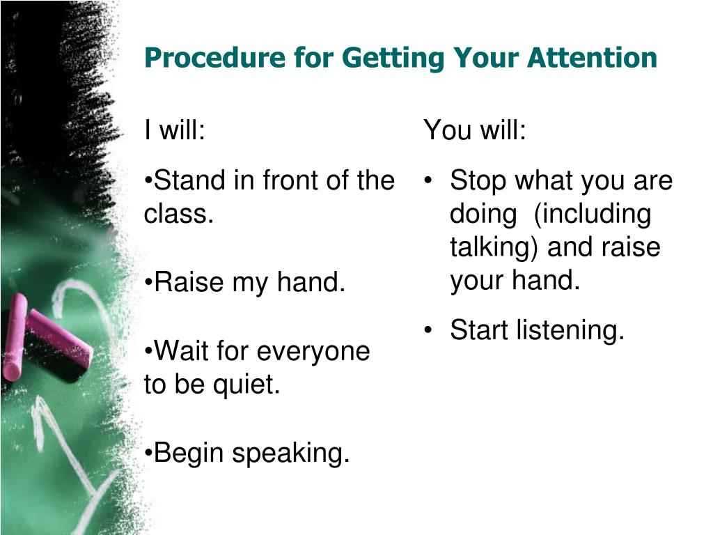 Procedure for Getting Your Attention