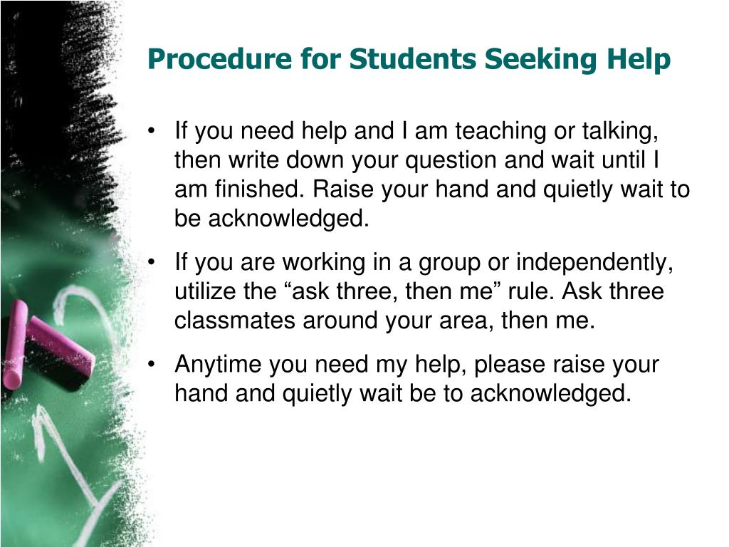 Procedure for Students Seeking Help