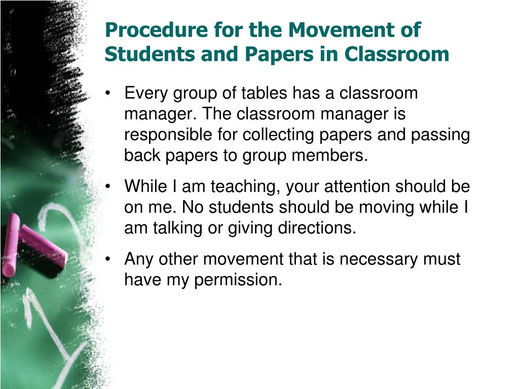 Procedure for the Movement of Students and Papers in Classroom