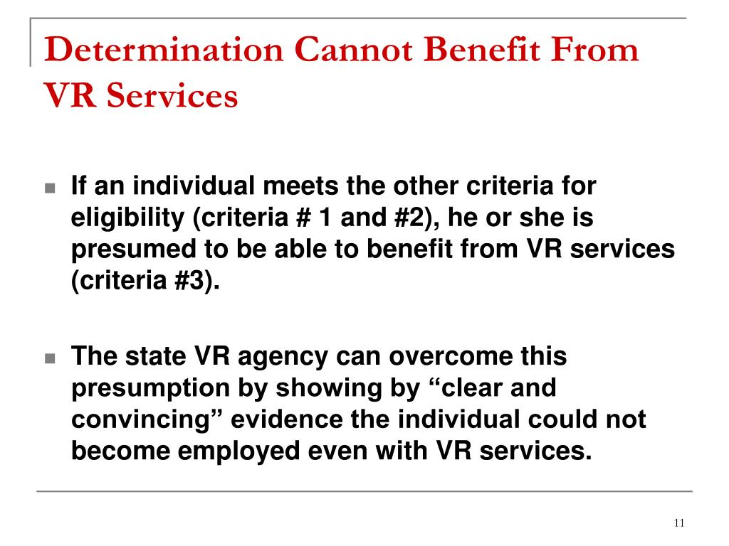 Determination Cannot Benefit From VR Services
