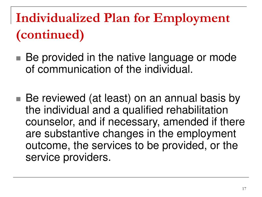 Individualized Plan for Employment (continued)