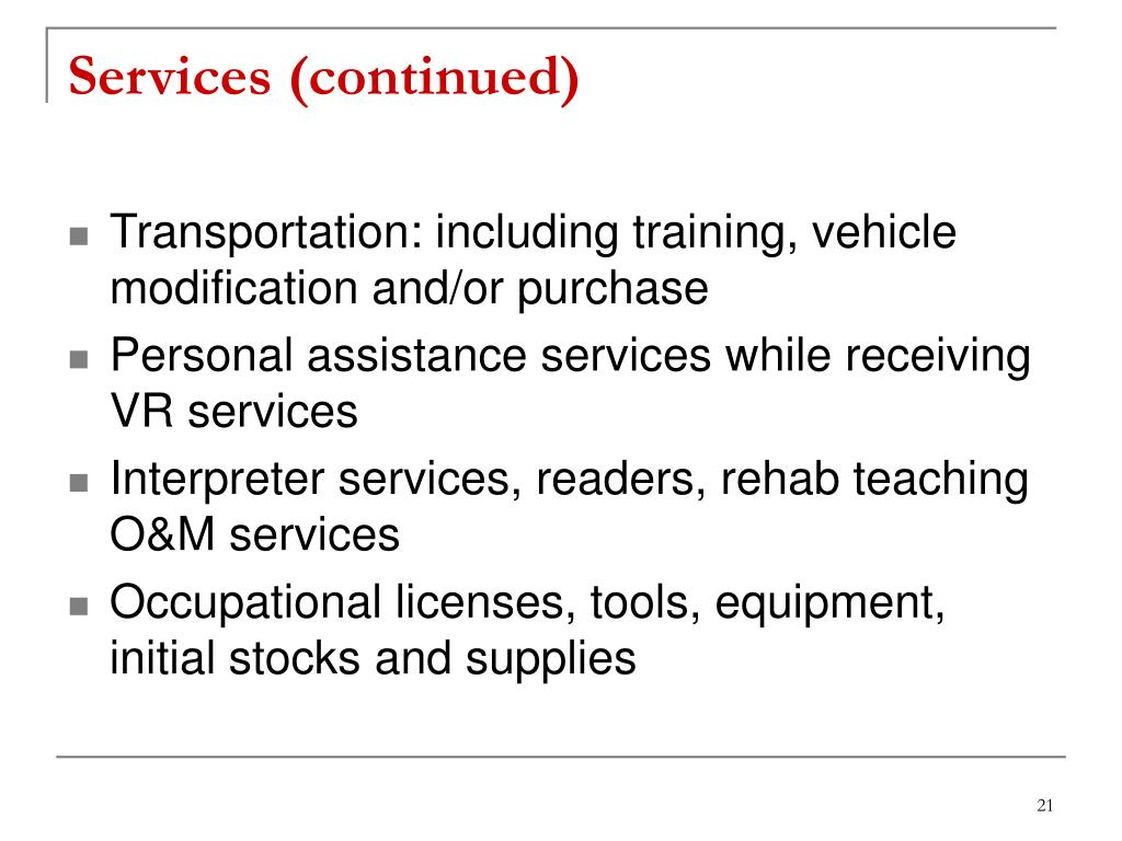 Services (continued)