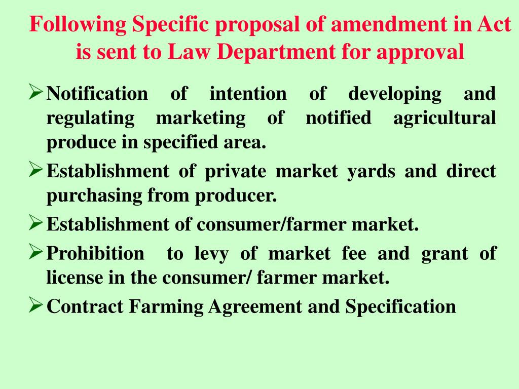 Following Specific proposal of amendment in Act is sent to Law Department for approval