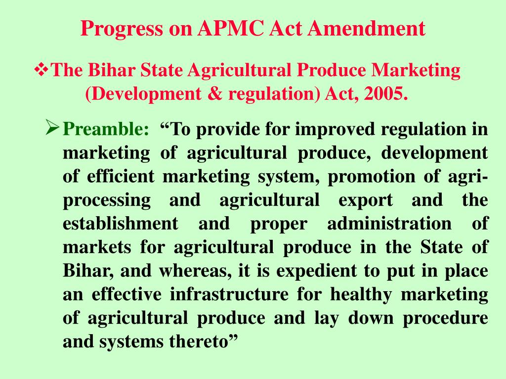 Progress on APMC Act Amendment