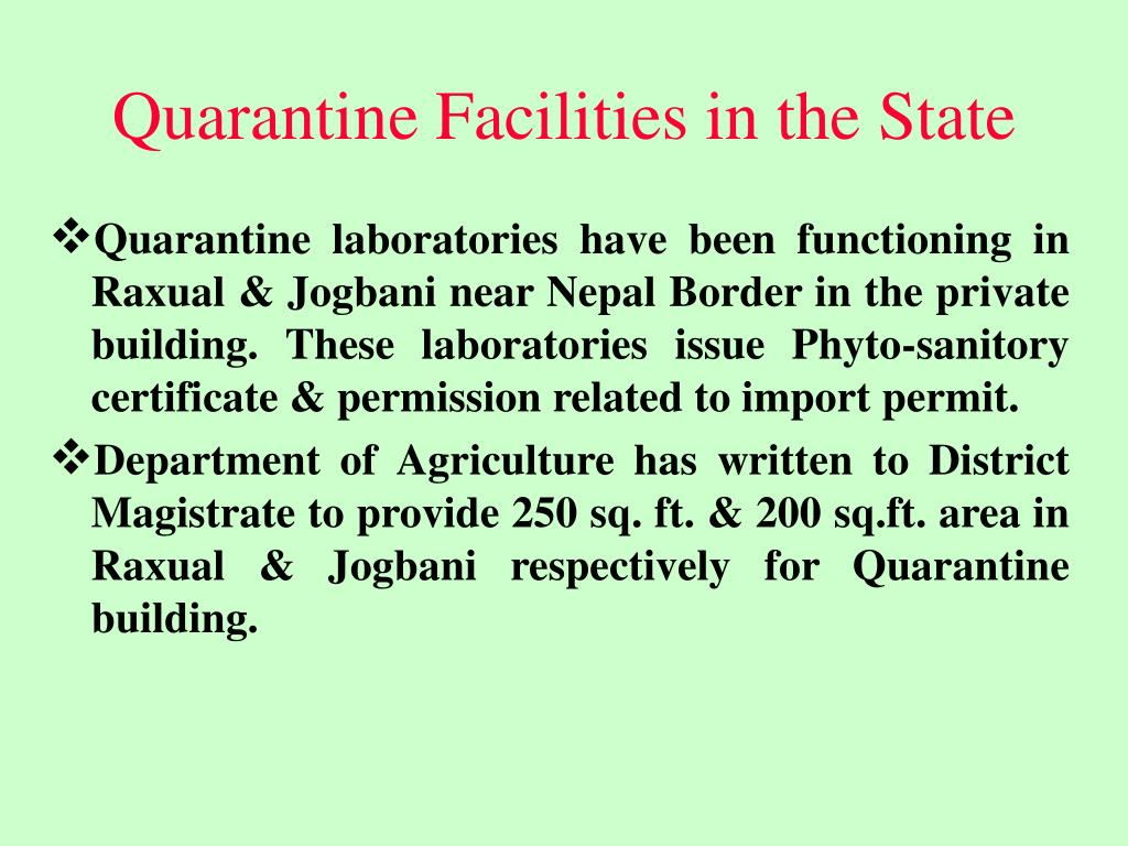 Quarantine Facilities in the State