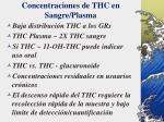 concentraciones de thc en sangre plasma