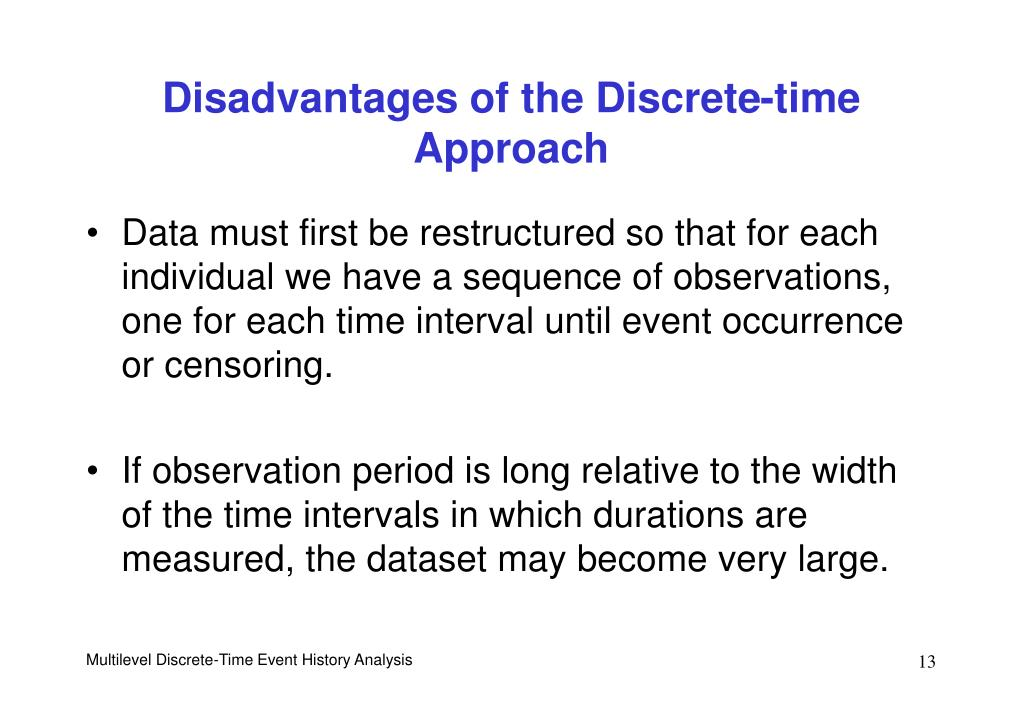 Disadvantages of the Discrete-time Approach