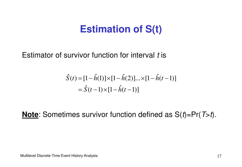 Estimation of S(t)