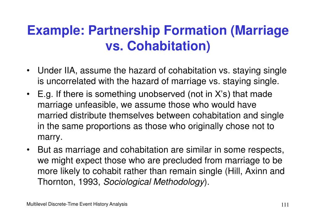 Example: Partnership Formation (Marriage vs. Cohabitation)