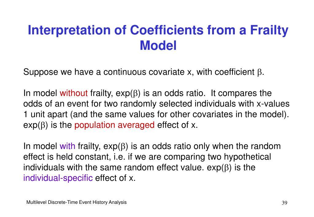 Interpretation of Coefficients from a Frailty Model