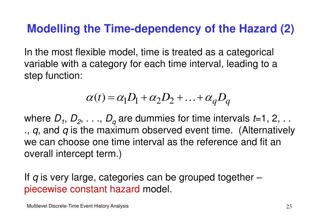 Modelling the Time-dependency of the Hazard (2)