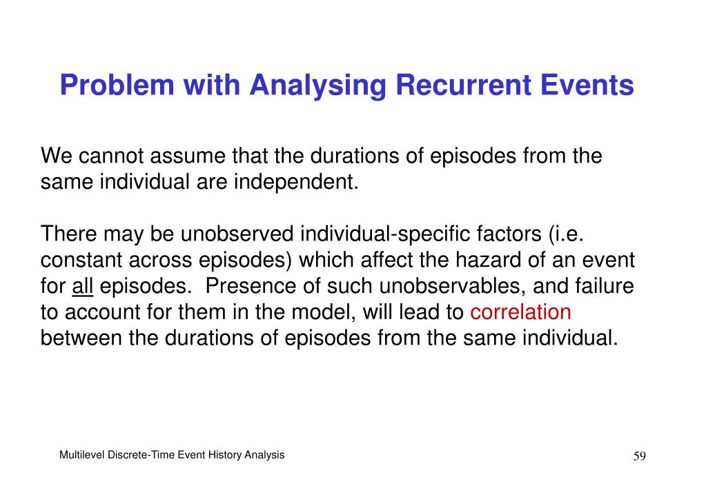 Problem with Analysing Recurrent Events