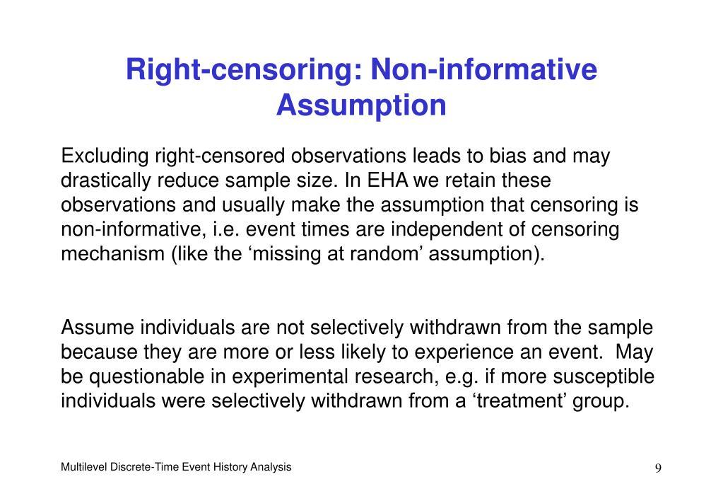 Right-censoring: Non-informative Assumption