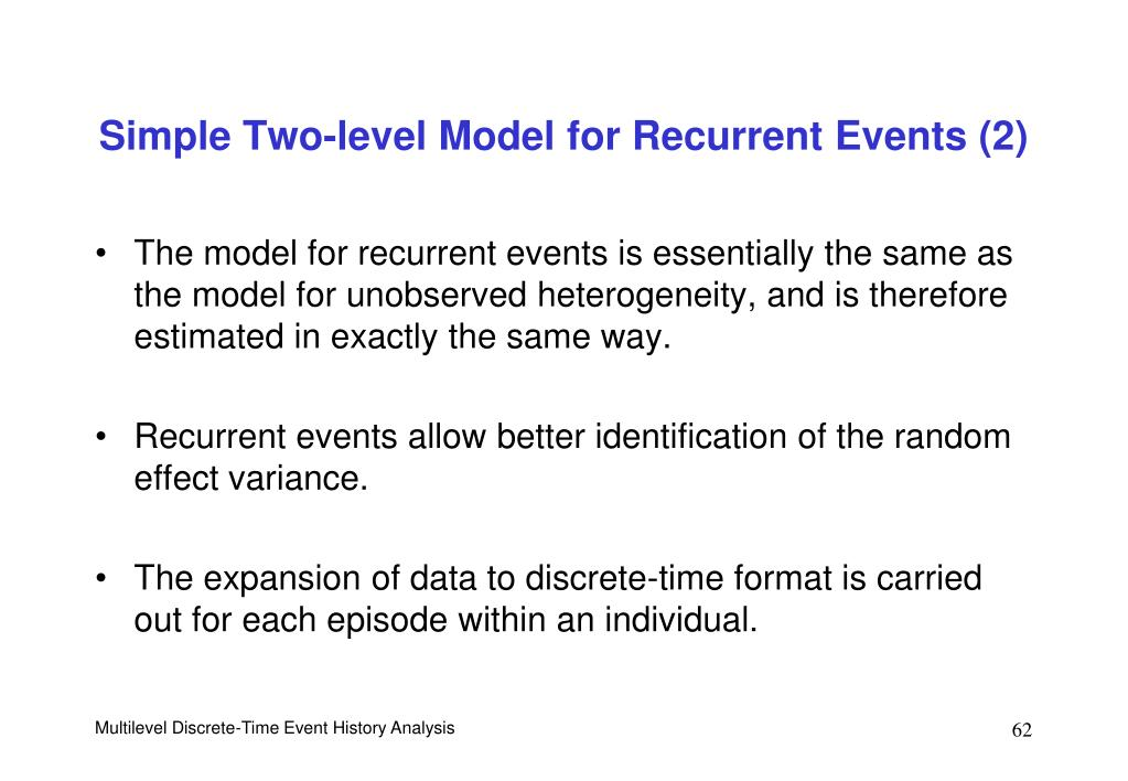 Simple Two-level Model for Recurrent Events (2)