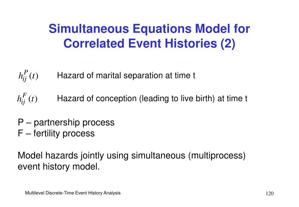 Simultaneous Equations Model for Correlated Event Histories (2)
