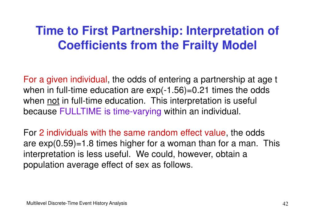 Time to First Partnership: Interpretation of Coefficients from the Frailty Model