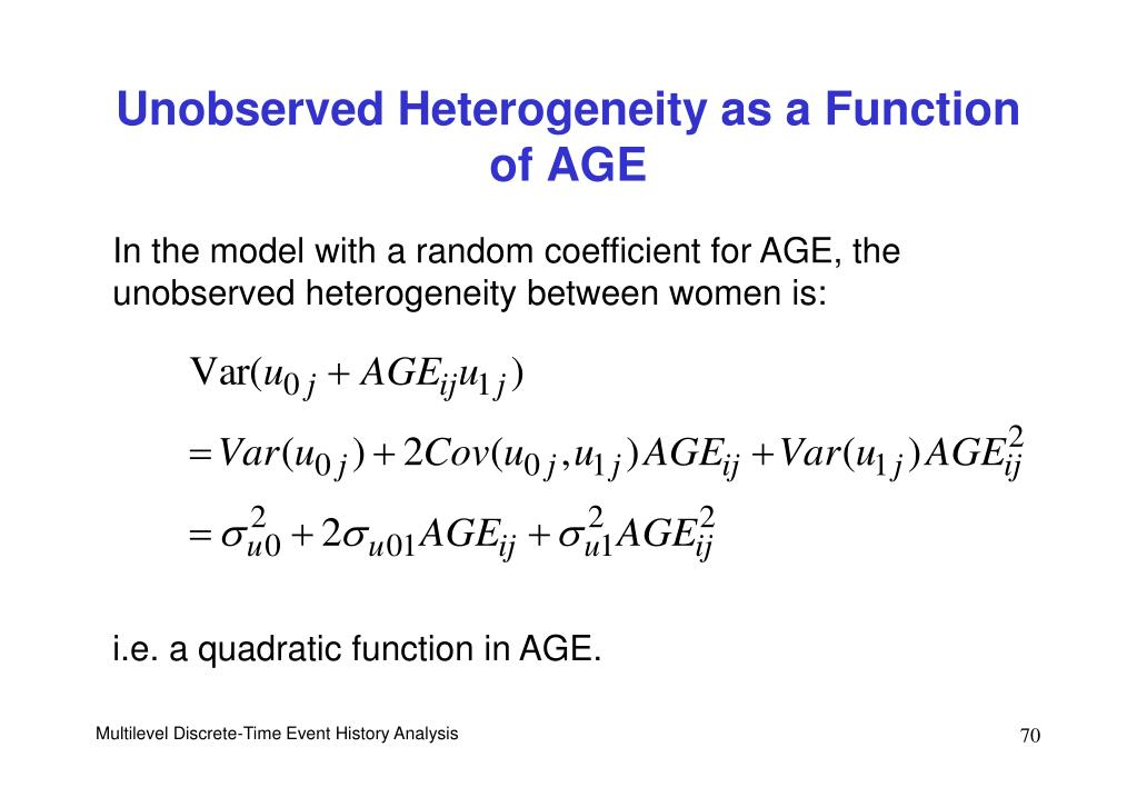 Unobserved Heterogeneity as a Function of AGE