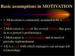 basic assumptions in motivation
