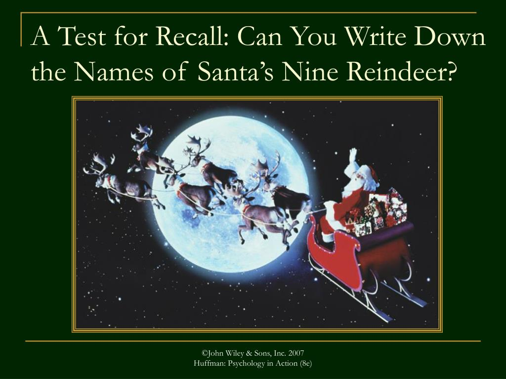 A Test for Recall: Can You Write Down