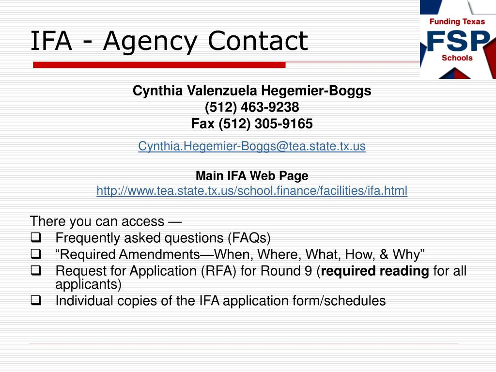 IFA - Agency Contact