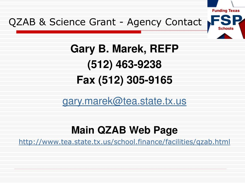 QZAB & Science Grant - Agency Contact