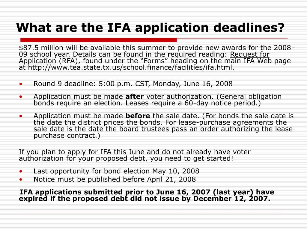What are the IFA application deadlines?
