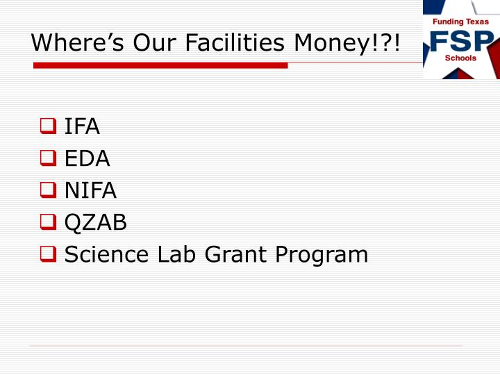 Where s our facilities money2
