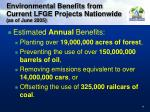 environmental benefits from current lfge projects nationwide as of june 2005