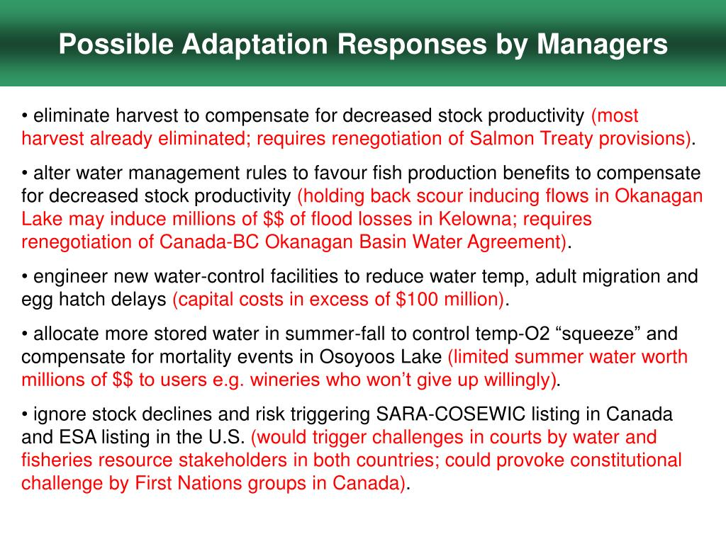 Possible Adaptation Responses by Managers