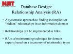 database design relationship analysis ra