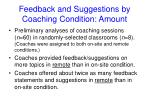 feedback and suggestions by coaching condition amount