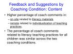 feedback and suggestions by coaching condition content