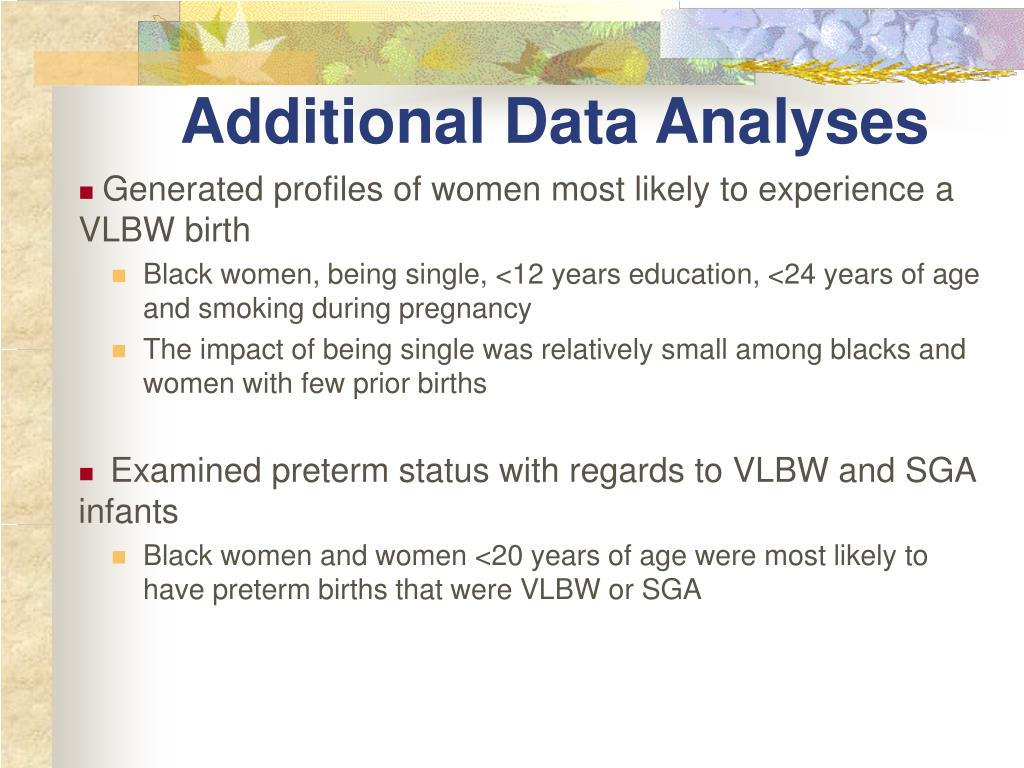 Additional Data Analyses