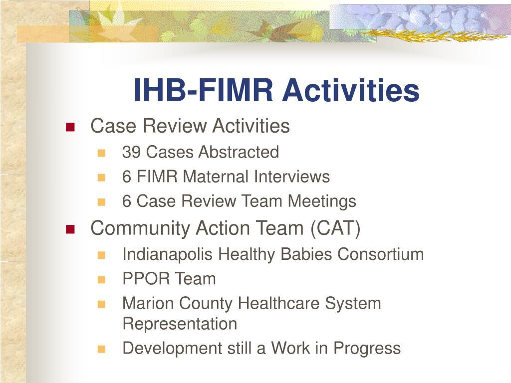 IHB-FIMR Activities