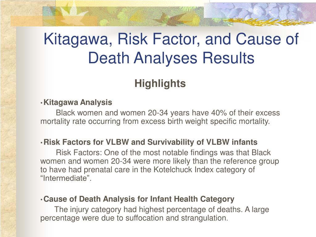 Kitagawa, Risk Factor, and Cause of Death Analyses Results