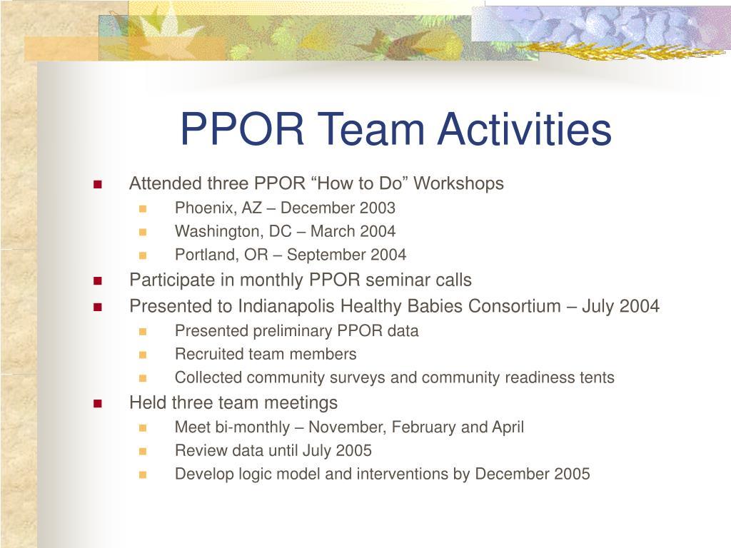 PPOR Team Activities